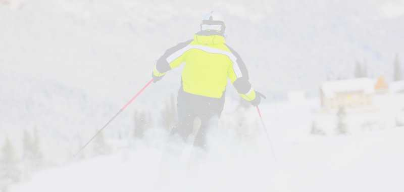 skier in flat light conditions
