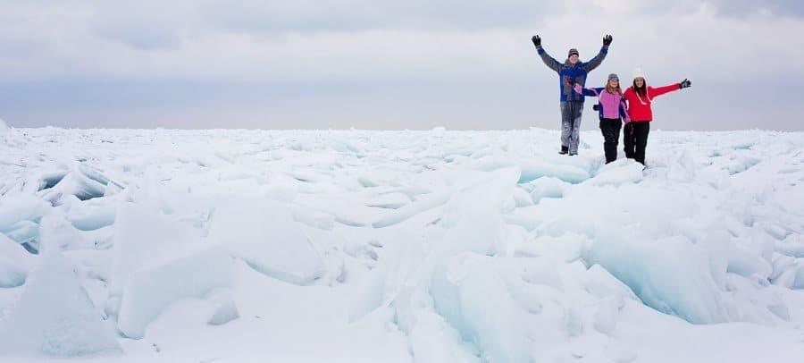 snowy and frozen lake michigan